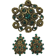 Antique Gold-tone and Emerald-green Rhinestone Brooch and Earring Set