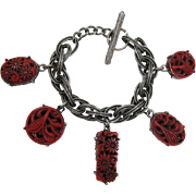Unsigned Selro or Selini Deep Red Two-sided Charm Bracelet