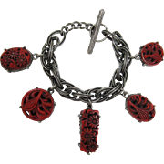 Unsigned Selro/Selini Deep Red Two-sided Charm Bracelet