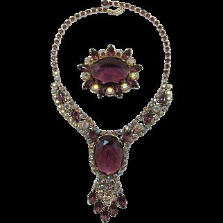 Stunning D&E Juliana Huge Purple Rhinestone Necklace and Brooch - Book Piece