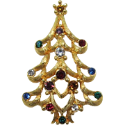 Chic Monet Christmas Tree Pin with Colored Rhinestones - Book Piece