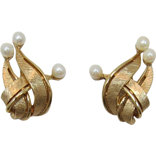 Elegant Boucher Gold-tone and Cultured Pearl Earrings