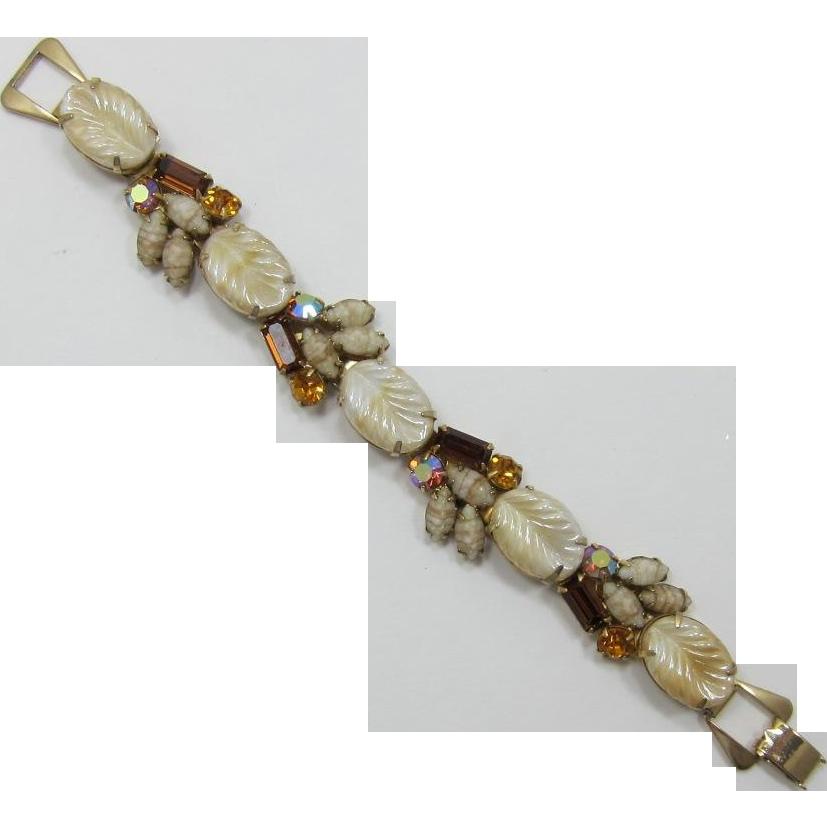 Iridescent Leaves and Topaz Rhinestone Bracelet