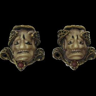 Fabulous Antique Gold-tone Noh Face Earrings