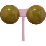 High-Domed Pea Green Bakelite Earrings