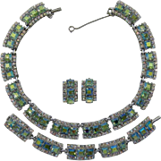 Brilliant Peridot Aurora Borealis Rhinestone Necklace, Bracelet & Earrings