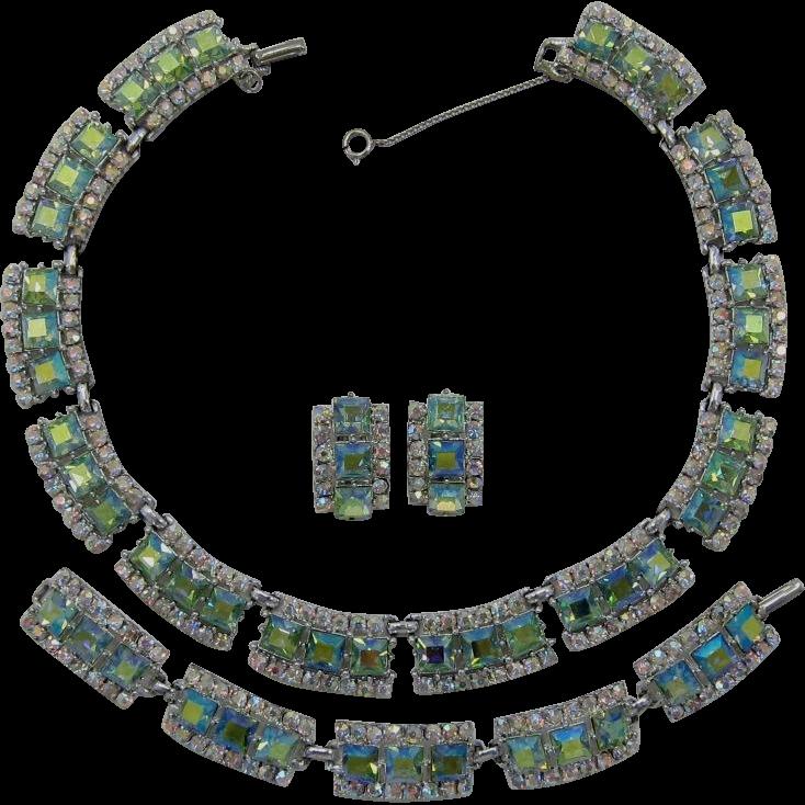 Brilliant Peridot Aurora Borealis Rhinestone Necklace, Bracelet & Earrings