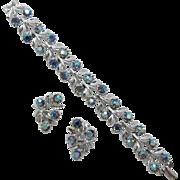 Blue Aurora Borealis Rhinestone Bracelet & Earring Set
