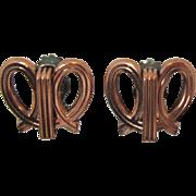Modernistic Renoir Copper Looped Earrings