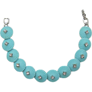 Trifari Light Aqua Radiating Discs Bracelet
