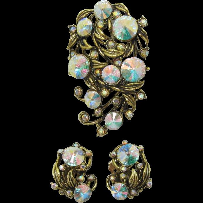 Fantastic Hollycraft AB Rivoli Rhinestone Brooch and Earrings