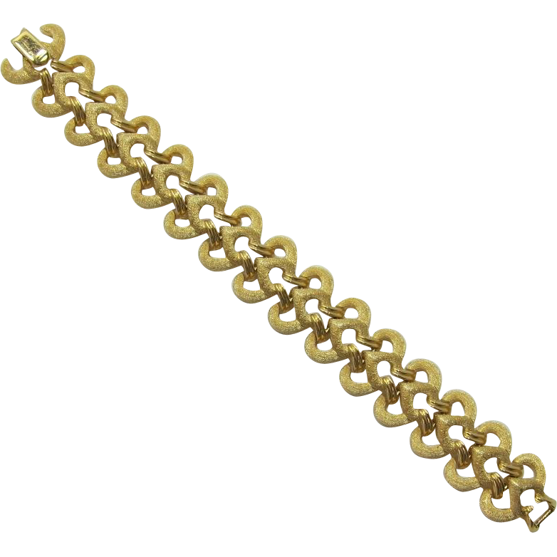 Crown Trifari Bright Gold-tone Link Bracelet
