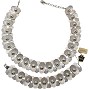 Napier Mid-Century Modernist Rhodium Plated Necklace and Bracelet Set