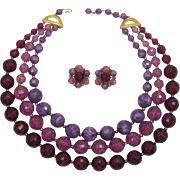 Fab Three-tone Purple Beaded Necklace and Earrings