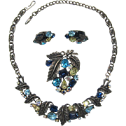 Aqua, Yellow and Blue Rhinestone Necklace, Brooch and Earrings