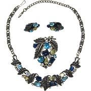 Beautiful Aqua, Yellow and Blue Rhinestone Necklace, Brooch and Earrings