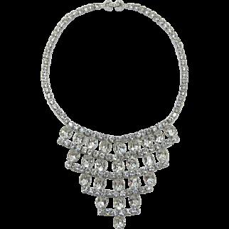 Gorgeous Clear Rhinestone Tiered Bib Necklace