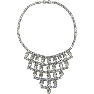 Gorgeous Clear Oval Rhinestone Tiered Bib Necklace