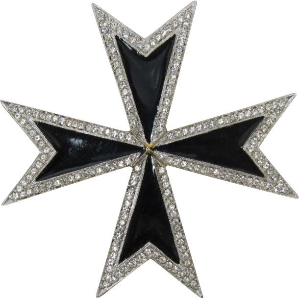 KJL Kenneth Lane Large Black Enameled Maltese Cross Brooch/Pendant