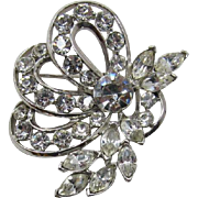 Sparkling Silver-tone and Clear Rhinestone Brooch