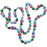 Bright Pastel Glass Beaded Necklace - Hand-Knotted