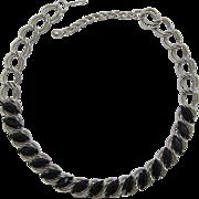 Silver-tone and Black Navette Rhinestone Necklace