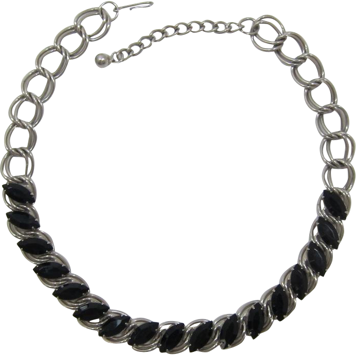 Silver-tone and Black Navette Rhinestone Necklace