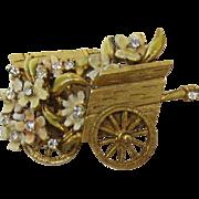 BSK My Fair Lady Enameled Flower Cart Brooch
