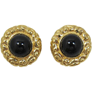 Ciner Elegant Bright Gold-tone and Black Cabochon Earrings