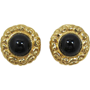 Ciner Elegant and Bold Bright Gold-tone and Black Cabochon Earrings