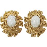 Beautiful Panetta Earrings with Imitation Opal Cabochons