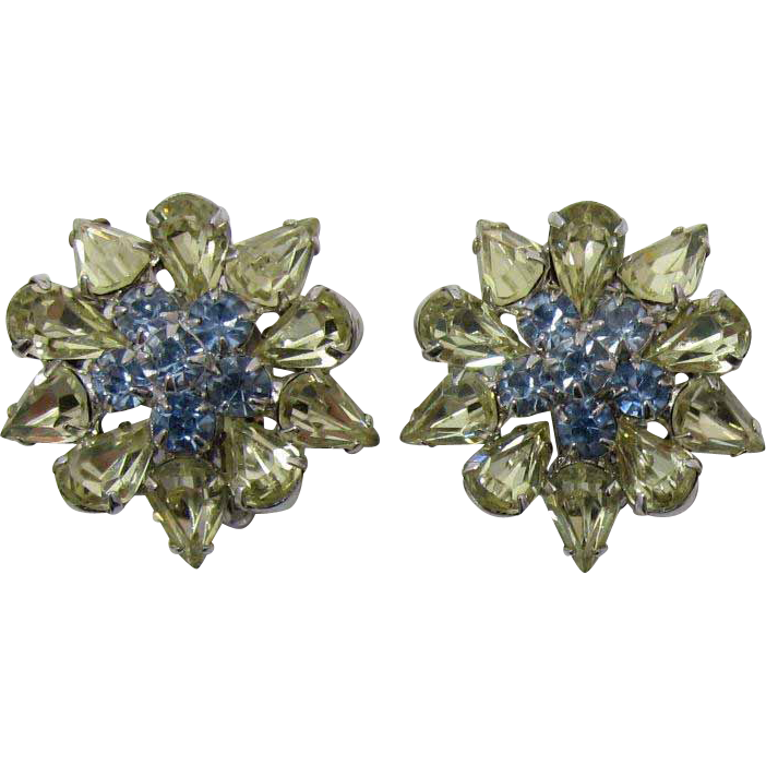 Sparkling Pale Yellow and Blue Rhinestone Earrings