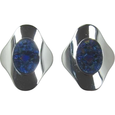 "Sarah Coventry ""Cleopatra"" Blue Iridescent Lava Rock Earrings"