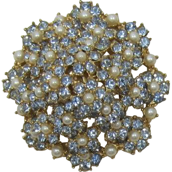 Ledo (Polcini) High-Domed Tiered Pale Blue and Pearl Florette Brooch