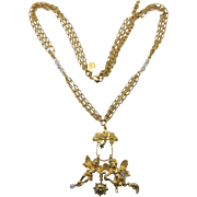 Kirk's Folly Two Dangling Angel Charms Necklace
