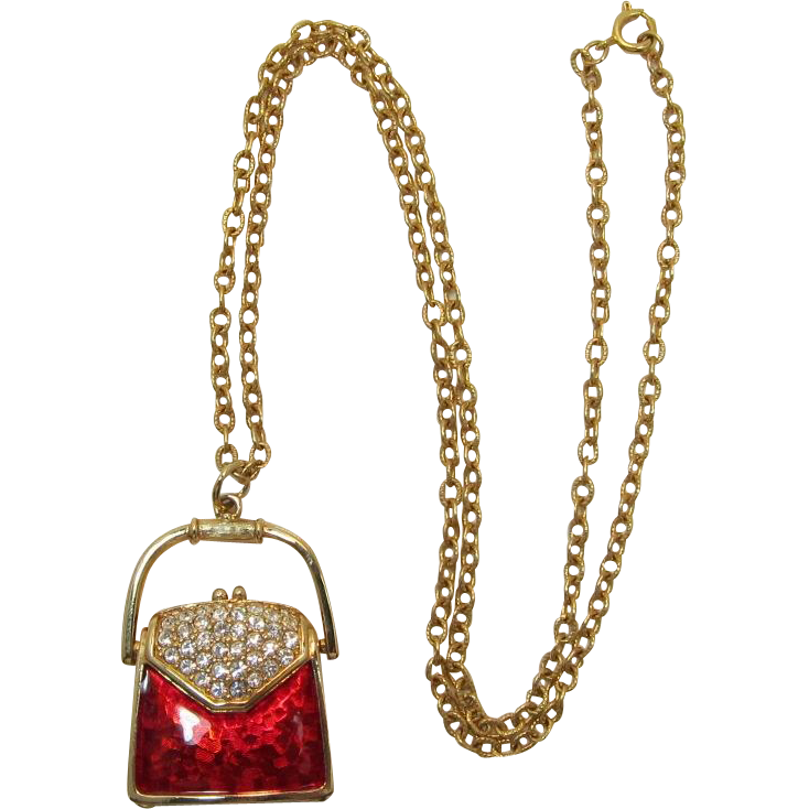 Swarovski Red Enameled Pocketbook Purse Pendant Necklace