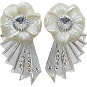 1980's White and and Lucite Flower Earrings