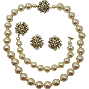 Golden Faux Pearl Necklace, Bracelet and Earrings