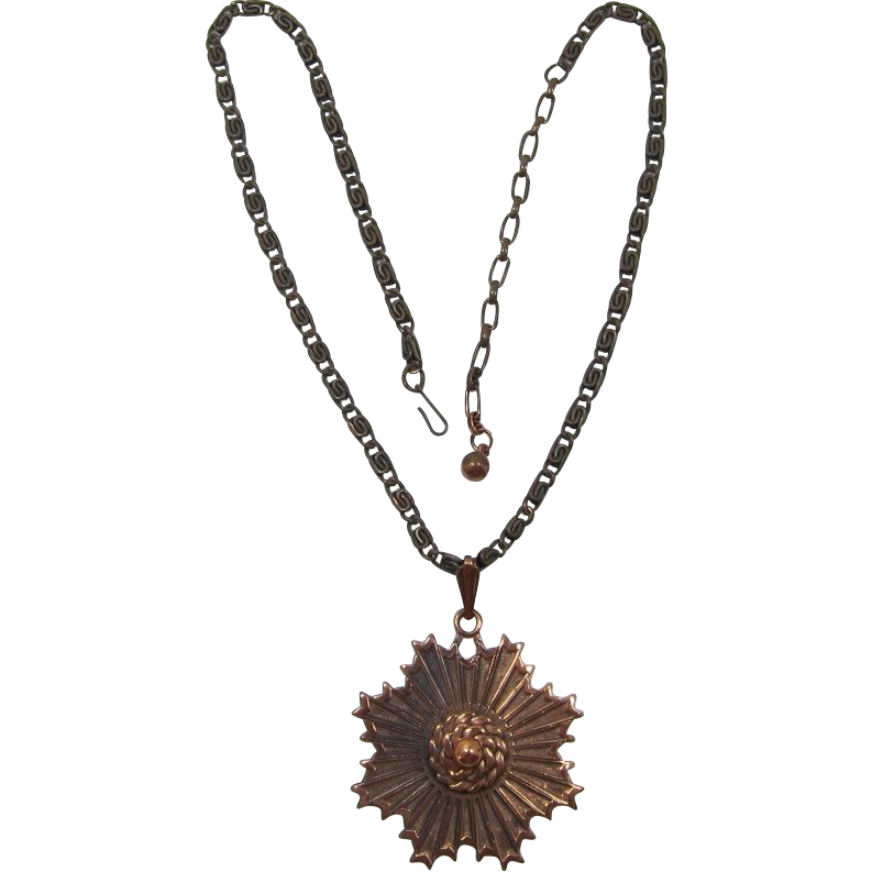 Genuine Copper Medallion Pendant Necklace