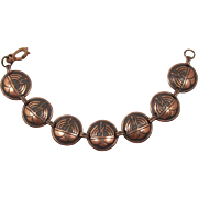 Aztec Style Copper Link Bracelet
