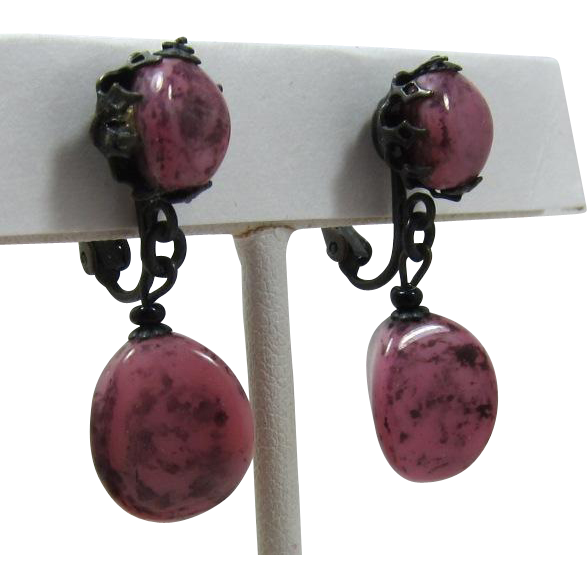 Miriam Haskell Swirled Pink and Grey Beaded Earrings