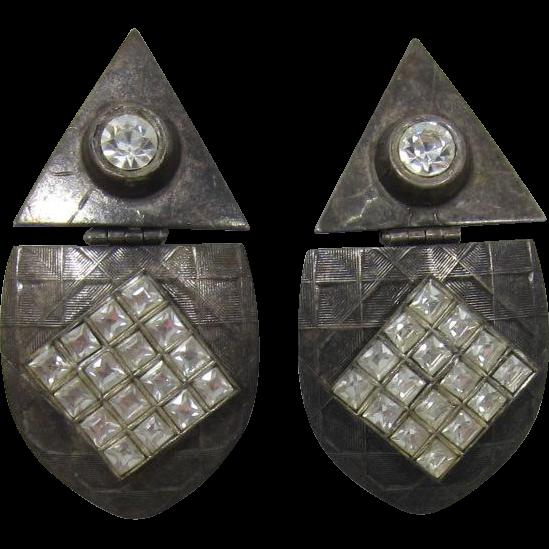 Tonic Gunmetal and Clear Rhinestone Hinged Earrings