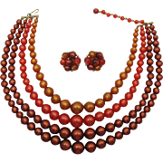 Lisner Moonglow Fall Colors Four Strand Necklace and Earring Set