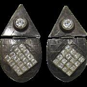 Signed Tonic Gunmetal and Clear Rhinestone Hinged Earrings