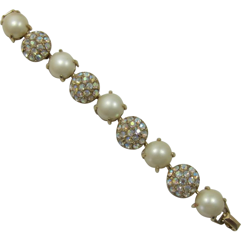 Large Simulated Pearl and AB Rhinestone Link Bracelet