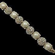 Large Simulated Pearl and AB Rhinestone Link Bracelet
