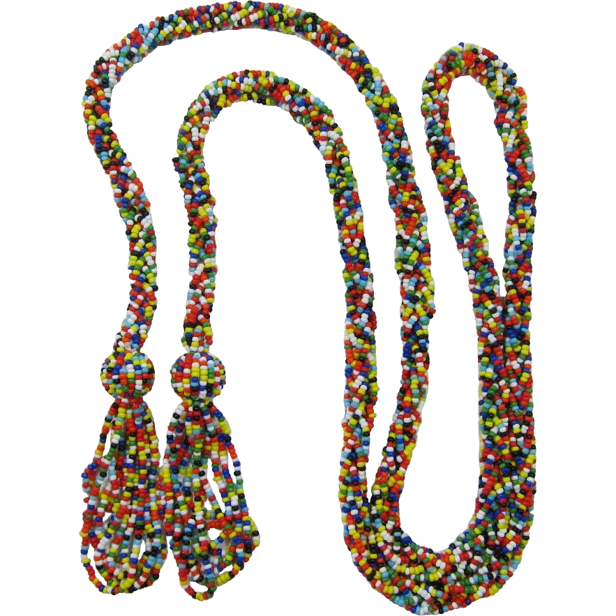 Fun and Flirty Multi-Colored Seed Bead Flapper Necklace