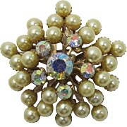 Beau Jewels Style Tiered Imitation Golden Pearl Brooch
