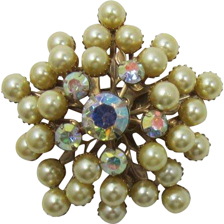 Lovely Beau Jewels Style Tiered Imitation Golden Pearl Brooch