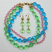 Spring-time Napier Teal, Peridot and Pink Beaded Necklace & Earrings